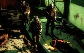 Picture death, blood, soldiers, helmet, mutants