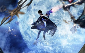 Wallpaper the moon, the full moon, sega, witch, Umbra Witches, bayonetta, Platinum Games