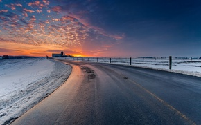 Picture winter, road, the sky, clouds, snow, landscape, sunset, nature, twilight