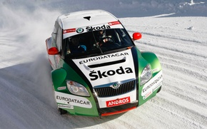 Picture Winter, Snow, Machine, Rally, The front, Skoda, Fabia, Fabia