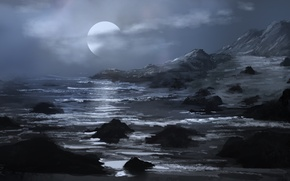 Picture sea, clouds, mountains, stones, rocks, art, the full moon, painted landscape