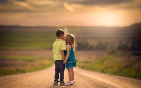 Picture road, children, kiss, boy, space, girl