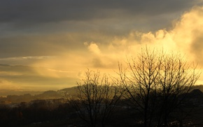 Picture field, autumn, the sun, light, sunset, mountains, nature, the city, rain, dawn, after the rain