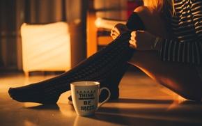 Picture girl, stockings, mug