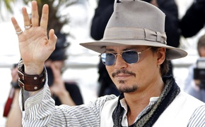 Picture look, hat, glasses, actor, johnny depp