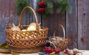 Picture autumn, leaves, branches, berries, Board, spruce, pumpkin, nuts, vegetables, blueberries, basket, Kalina