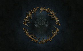 Picture logo, gold, Lord of The Rings, Tolkien, Sindarin