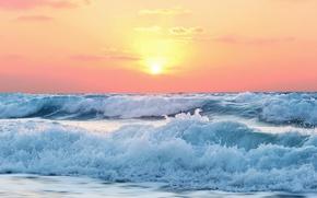 Wallpaper ocean, seascape, foam, waves, wind, seaside, dusk, sea, beach, morning, sunrise
