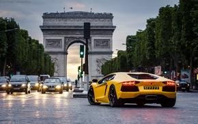 Picture Paris, Paris, cars, yellow, night, Lamborghini Aventador