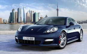 Wallpaper blue, Porsche, Shanghai