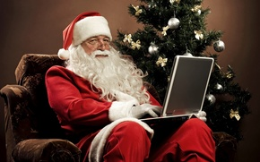 Picture decoration, balls, tree, chair, laptop, tree, christmas, bows, Santa Claus, gold, notebook, tree, silver