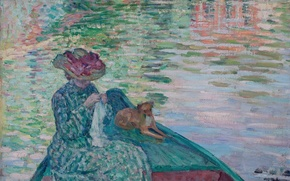 Picture paint, dog, picture, genre, Henri Lebacq, A young girl in a boat