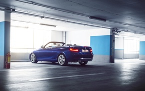 Wallpaper BMW, German, Car, Blue, Cabriolet, Garage, Rear, 220D