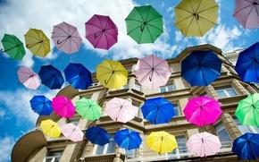 Wallpaper the city, house, umbrellas