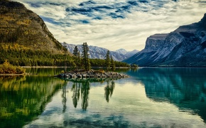Picture autumn, trees, landscape, mountains, lake, island, Canada, Albert, banff national park, Minnewanka