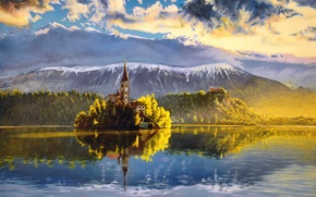 Wallpaper the sky, water, clouds, trees, landscape, mountains, nature, reflection, painting