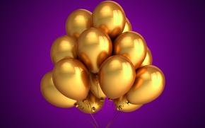 Picture balloons, golden, celebration, holiday, balloons
