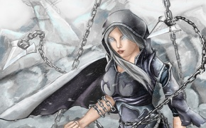 Picture look, girl, fiction, armor, art, armor, chain
