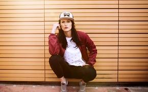 Wallpaper face, model, jeans, jacket, cap, sneakers, Kiki