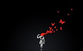 Wallpaper minimalism, vector, blood, butterfly, black, gun