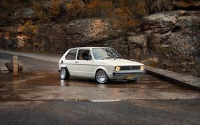 Picture road, nature, stream, volkswagen, white, Classic, cars, auto, golf, rabbit, Wake up, mk1, Wallpaper HD
