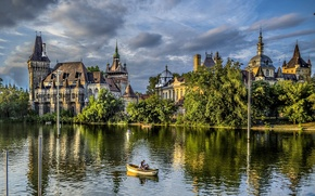 Picture trees, nature, lake, Park, people, castle, boat, Hungary, Budapest, Budapest, Hungary, Ter
