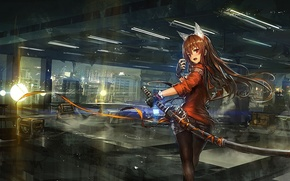 Picture Girl, sword, lights
