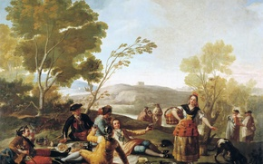 Picture trees, landscape, people, picture, Picnic, genre, Francisco Goya