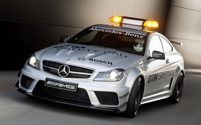Picture Mercedes-Benz, Mercedes, AMG, Coupe, the front, flasher, Black Series, C63, AMG, Safety Car