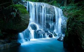 Wallpaper forest, nature, stones, waterfall, moss