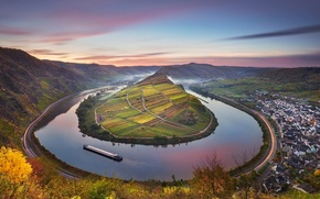 Picture autumn, mountains, nature, Germany, barge, the river Moselle, Bremm, Rhineland-Palatinate