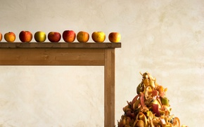 Picture table, apples, peel