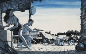 Picture palm trees, war, Japan, battle, machine, hut, Asian, box, box, japan, clash, war, blue background, ...