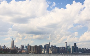 Picture USA, United States, skyline, sky, water, New York, Manhattan, NYC, New York City, clouds, birds, …