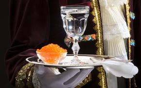 Wallpaper vodka, caviar, glass, tray