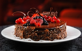 Picture berries, raspberry, chocolate, blueberries, plate, cake, dessert, currants, appetizing