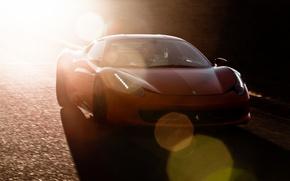 Picture road, red, shadow, red, ferrari, Ferrari, Blik, Italy, 458 italia
