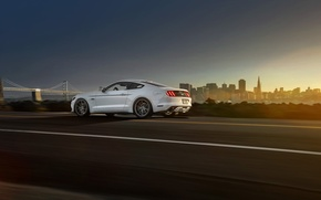 Picture Mustang, Ford, Muscle, Car, White, Vossen, Wheels, Rear, 2015