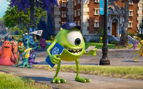 Picture road, cartoon, students, Academy of monsters, Monsters University, Inc., Monsters Inc., Monsters University, Monsters, campus