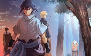 Wallpaper naruto, anime, art, Itachi Uchiha, Uchiha Sasuke, Naruto Uzumaki