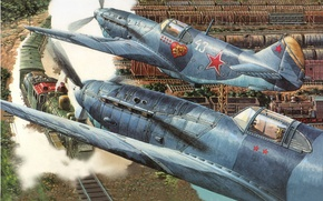 Picture war, the engine, station, cars, art, fighters, LAGG-3, Soviet, single-engine, train, single, piston