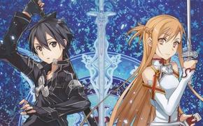 Picture girl, weapons, guy, swords, anime, art, sword art online, kirito, asuna