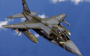 Picture the sky, clouds, the plane, fighter, bomber, SEPECAT Jaguar
