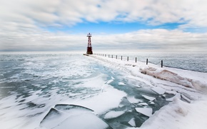 Wallpaper sea, lighthouse, ice