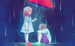 Picture water, umbrella, rain, boy, Children, art, girl, blauerozen, The Gift of a Friend
