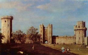 Picture landscape, people, castle, England, picture, Antonio canal, Antonio Canaletto, the inner courtyard of Warwick castle