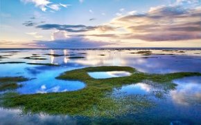 Picture the sky, grass, water, clouds, lake, Laguna
