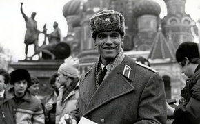 Picture black and white, Moscow, Uniform, Arnold Schwarzenegger, Red heat