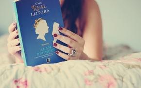 Picture girl, background, blue, Wallpaper, mood, brunette, book, owner