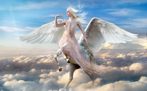 Picture The sky, Clouds, Girl, Wings, Fiction